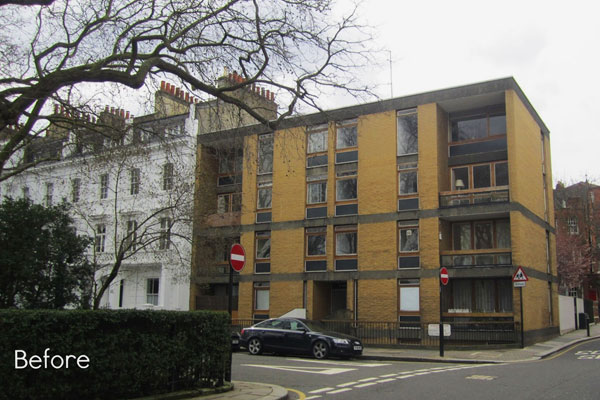 Hereford Square Before Replication of Full Stucco Facade