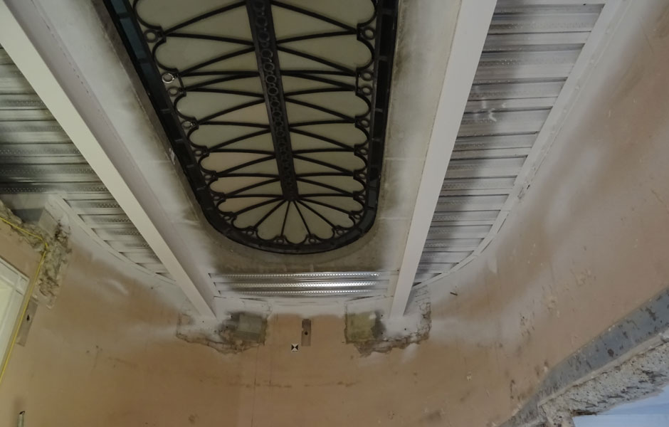 Newly positioned roof light with concrete and steel framework