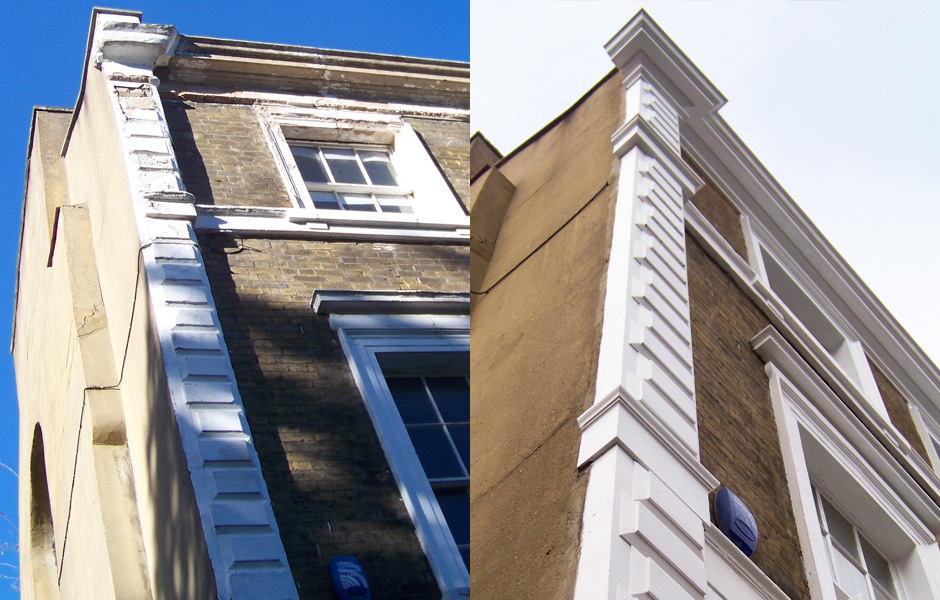 Lauriston Road quoins and string course before and after